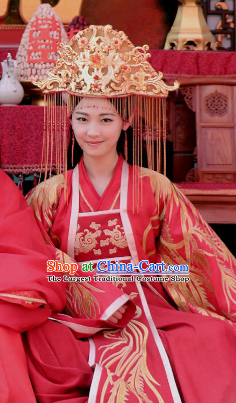 Chinese Ancient Wedding Red Hanfu Dress Drama Handsome Siblings Costume and Headpiece for Women