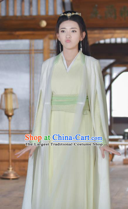 Drama Handsome Siblings Chinese Ancient Swordsman Su Ying Hanfu Dress Costume and Headpiece for Women