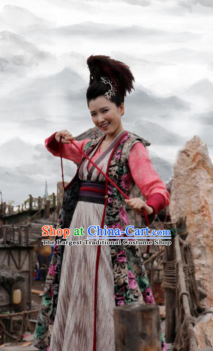 Chinese Ancient Villain Swordsman Tu Jiaojiao Hanfu Dress Drama Handsome Siblings Costume and Headpiece for Women