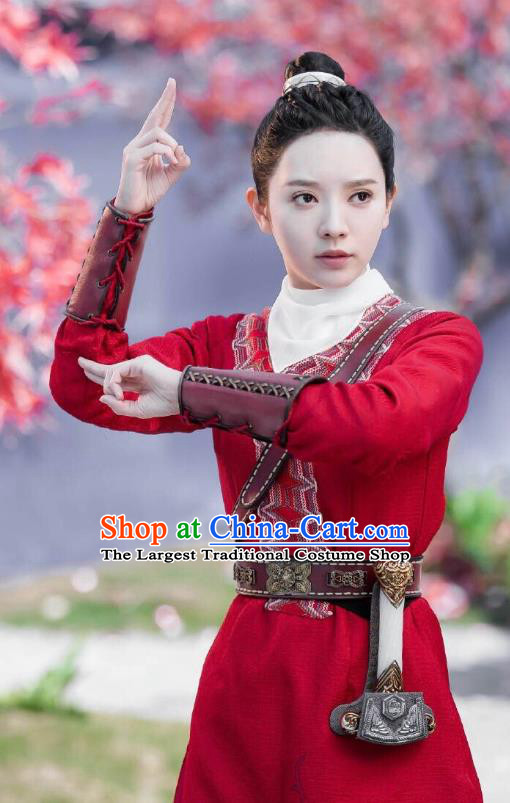 Chinese Historical Drama The Legend of Zu Ancient Demon Female Swordsman Yu Yingnan Red Costume and Headpiece for Women