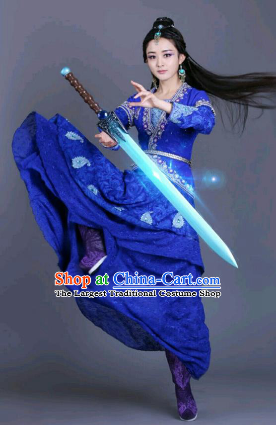 Chinese Historical Drama The Legend of Zu Ancient Demon Female Swordsman Yu Wuxin Blue Costume and Headpiece for Women