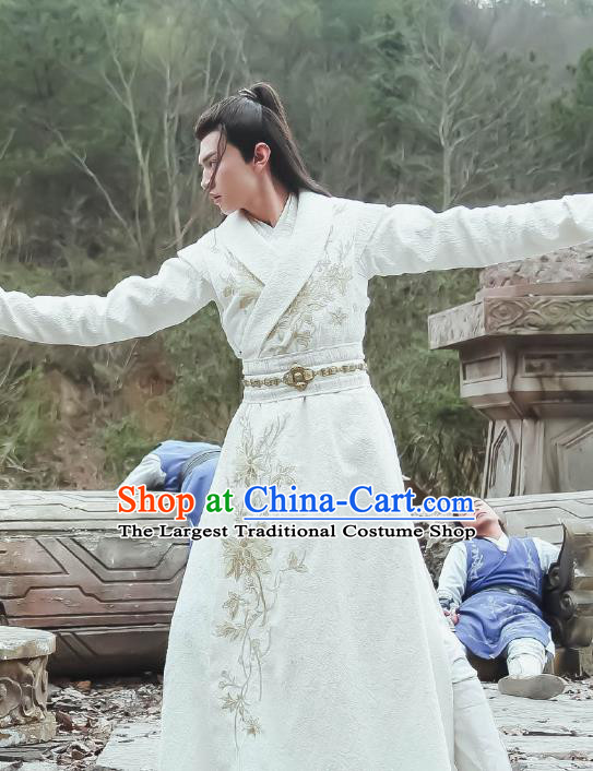 Chinese Ancient Swordsman Yu Yingqi White Clothing Historical Drama The Legend of Zu Costume for Men