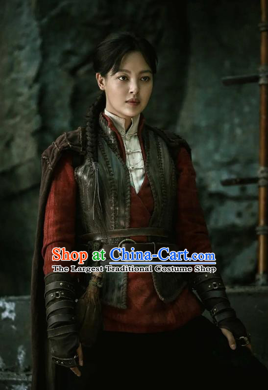 Chinese Drama Xin Zhilei Candle in The Tomb The Wrath of Time Grave Robber Lady Red Costume and Headpiece for Women
