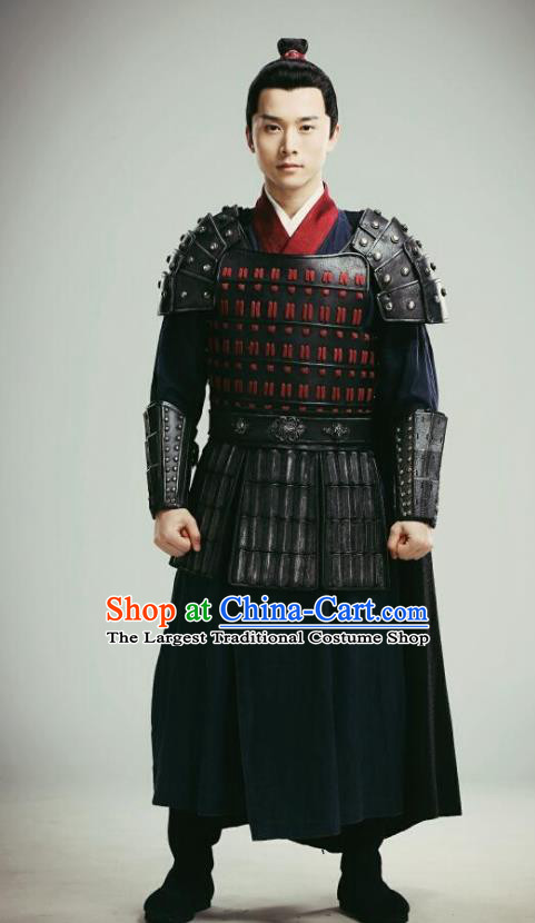 Chinese Ancient Qin Dynasty General Li Yuan Armor Historical Drama A Step Into The Past Costume for Men