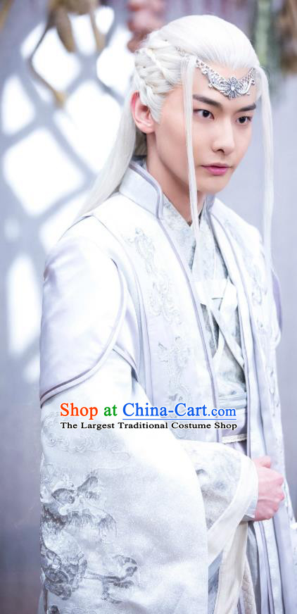 Chinese Ancient Royal Prince Mo Yihuai Clothing Historical Drama The Eternal Love Costume and Headwear for Men