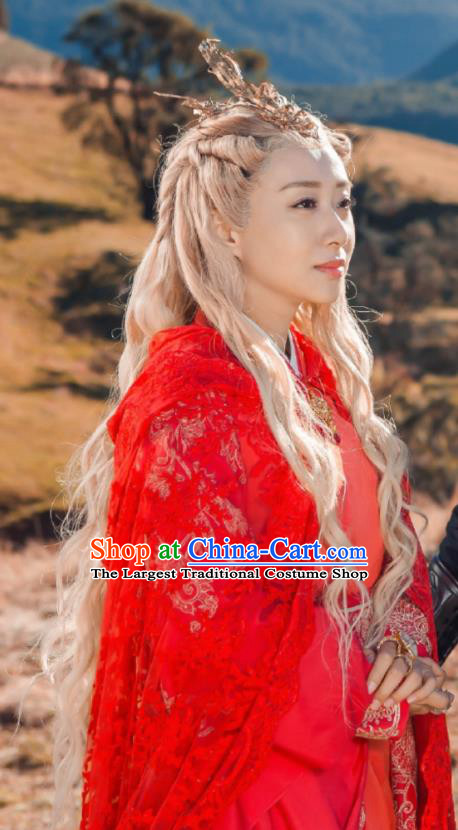 Chinese Historical Drama The Legend of Zu Ancient Demon Princess Sha Yanhong Red Costume and Headpiece for Women