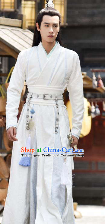 Chinese Ancient Young Swordsman Hua Wuque White Clothing Historical Drama Handsome Siblings Costume and Headpiece for Men