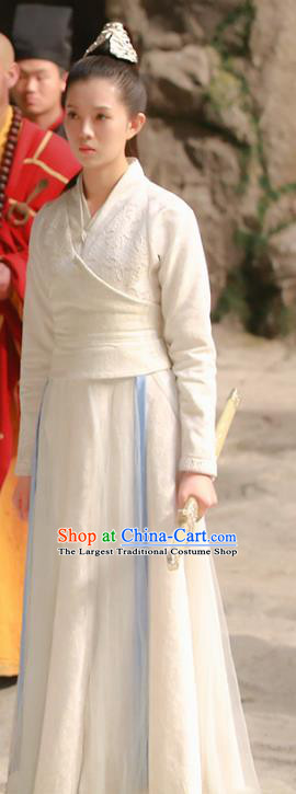 Chinese Ancient Maidservant White Hanfu Dress Drama Handsome Siblings Costume and Headpiece for Women