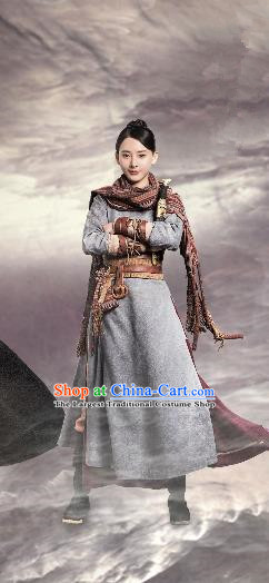 Chinese Drama Guardians of The Ancient Oath Female Civilian Qiu Xiaotong Costume and Headpiece for Women