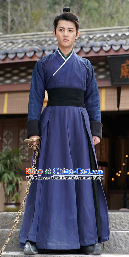 Chinese Ancient Swordsman Jiang Yulang Blue Clothing Historical Drama Handsome Siblings Costume and Headpiece for Men