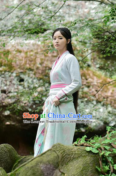 Chinese Ancient Maidservant Tie Xinlan Hanfu Dress Drama Handsome Siblings Costume and Headpiece for Women