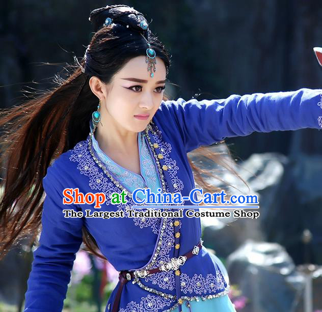 Chinese Historical Drama The Legend of Zu Ancient Fairy Yu Wuxin Costume and Headpiece for Women