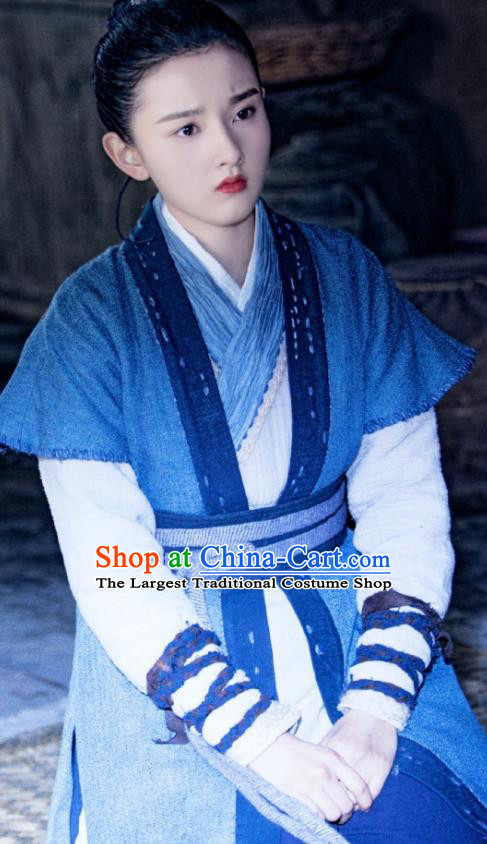 Chinese Drama Guardians of The Ancient Oath Female Swordsman Baili Hongyi Costume and Headpiece for Women