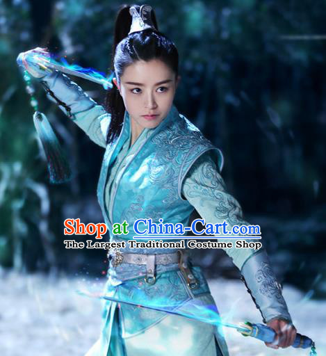 Chinese Historical Drama The Legend of Zu Ancient Female Swordsman Zhou Qingyun Costume and Headpiece for Women
