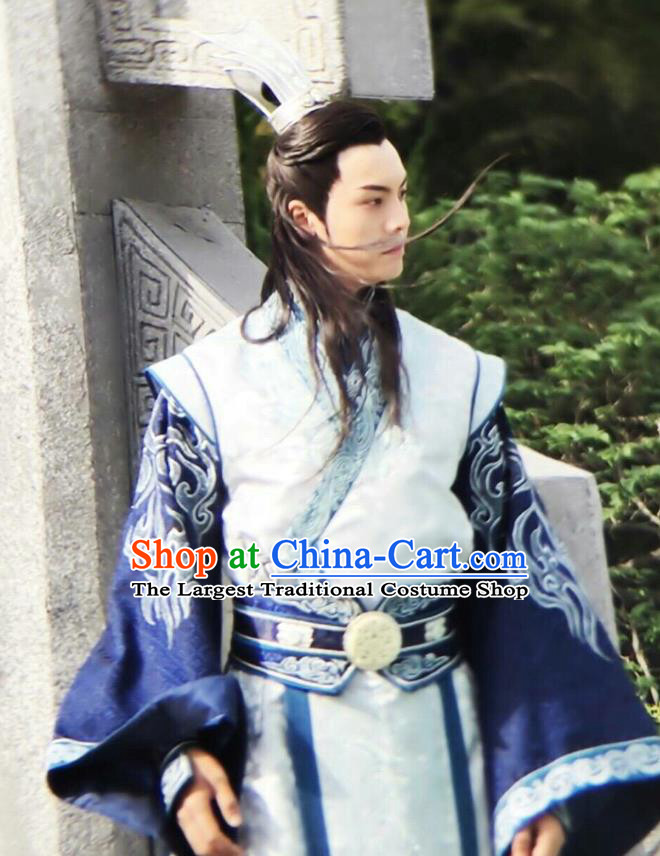 Chinese Ancient Swordsman Ding Yin Clothing Historical Drama The Legend of Zu Costume for Men