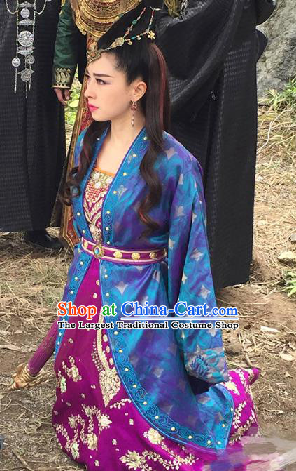 Chinese Historical Drama The Legend of Zu Ancient Demon Fairy Tu Mei Costume and Headpiece for Women