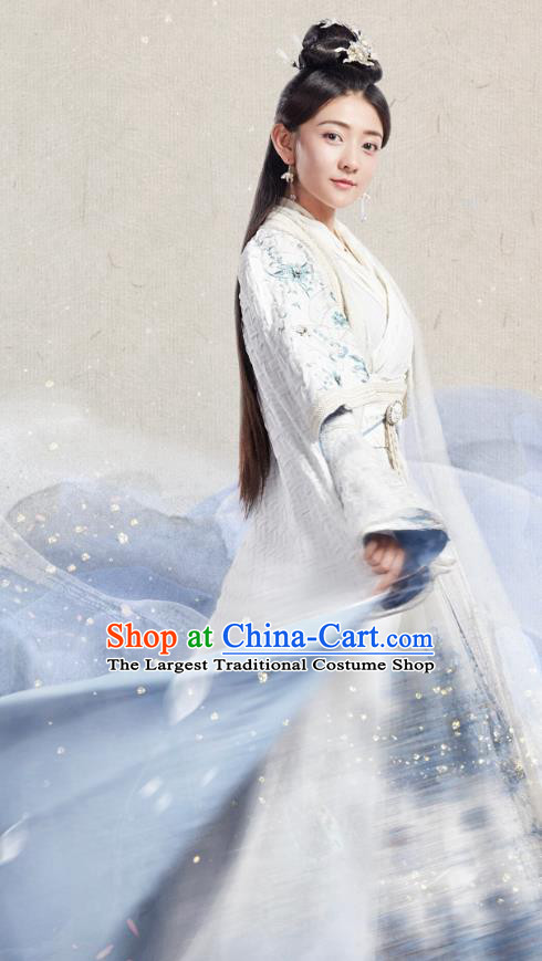 Chinese Historical Drama The Eternal Love Ancient Court Princess Qu Tan Er Costume and Headpiece for Women