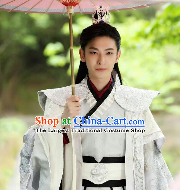 Chinese Ancient Crown Prince Mo Liancheng White Clothing Historical Drama The Eternal Love Costume and Headwear for Men