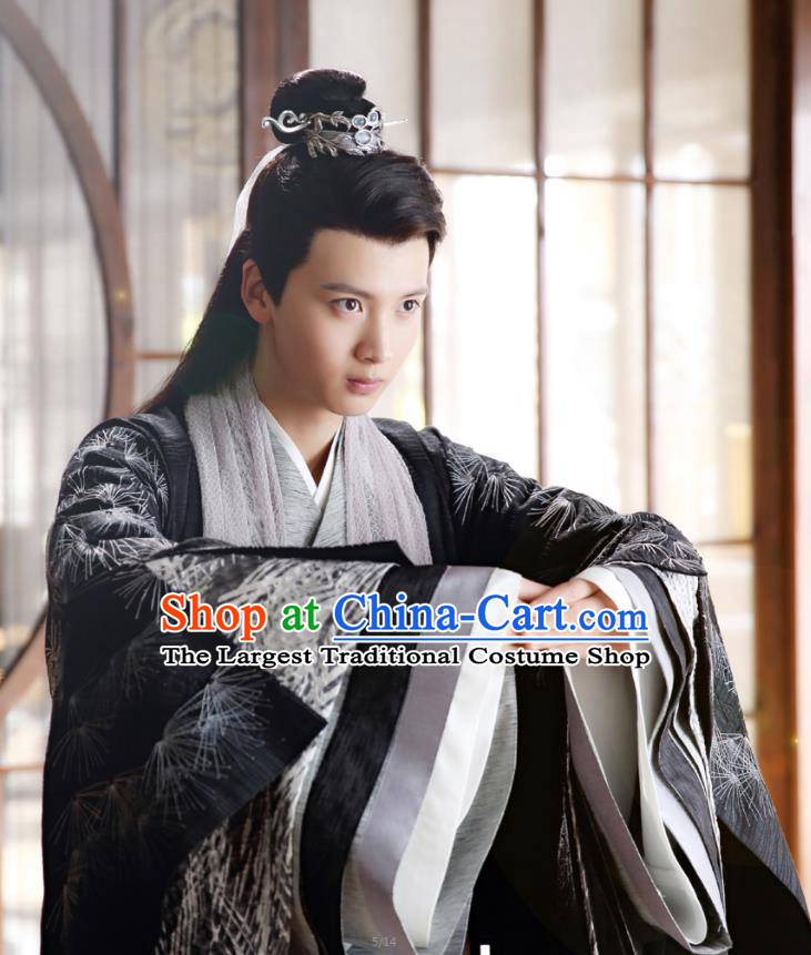 Chinese Ancient Adviser Liu Shang Black Clothing Historical Drama The Eternal Love Costume and Headwear for Men