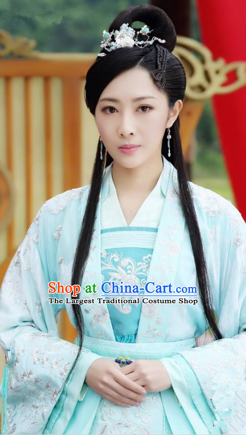 Chinese Historical Drama The Eternal Love Ancient Princess Consort Qu Pan Er Blue Costume and Headpiece for Women