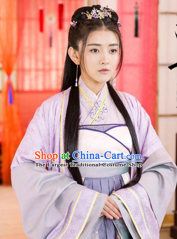 Chinese Historical Drama The Eternal Love Ancient Noble Lady Qu Tan Er Purple Costume and Headpiece for Women