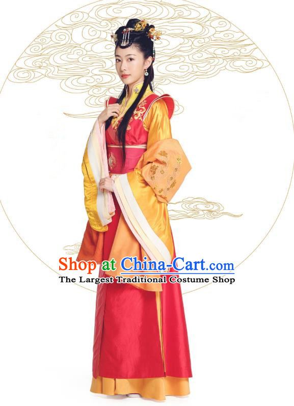 Chinese Historical Drama The Eternal Love Ancient Princess Rani Qu Paner Costume and Headpiece for Women