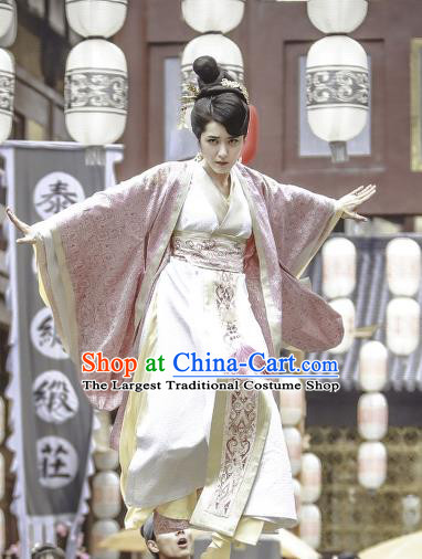 Chinese Historical Drama Swords of Legends Ancient Female Flamen Fu Qingjiao Costume and Headpiece for Women