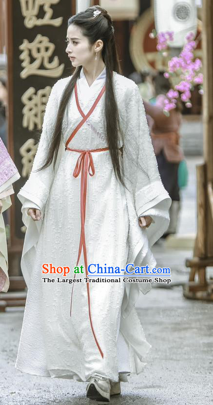 Chinese Historical Drama Swords of Legends Ancient Female Swordsman Wen Renyu White Costume and Headpiece for Women