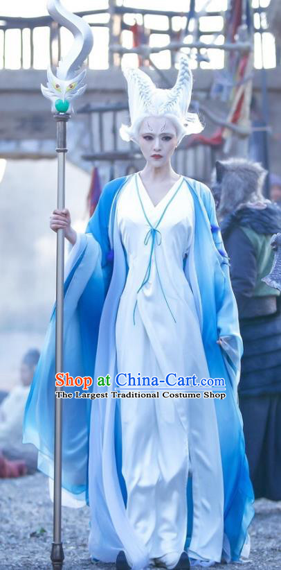 Chinese Historical Drama Swords of Legends Ancient Fairy Xue Ji Costume and Headpiece for Women
