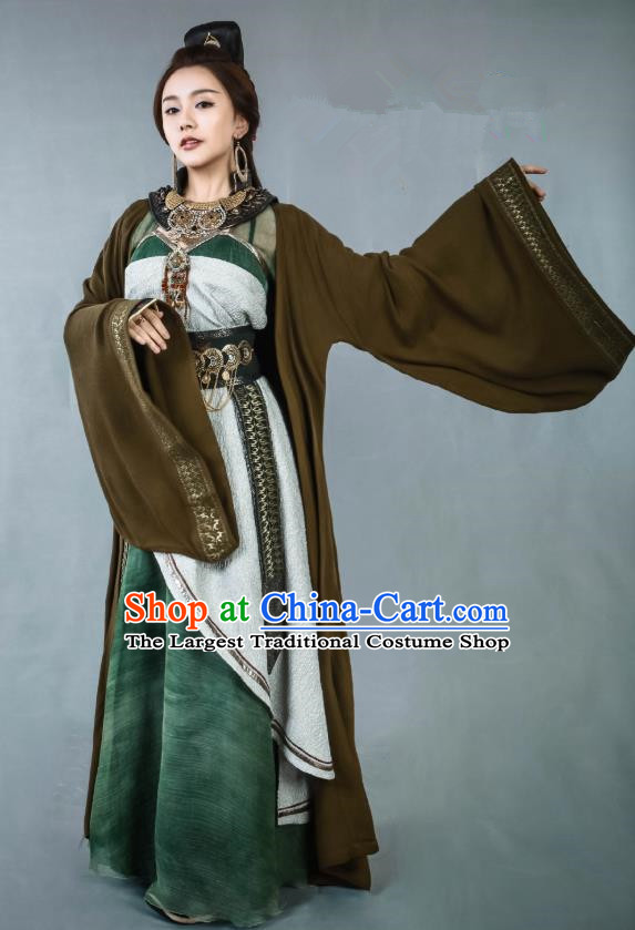 Chinese Historical Drama Swords of Legends Ancient Female Flamen Hua Yue Costume and Headpiece for Women