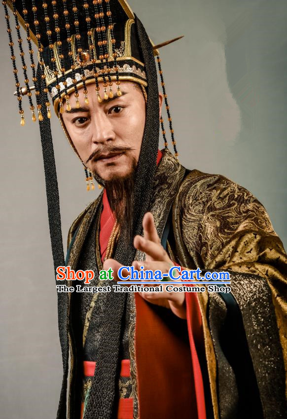 Swords of Legends Chinese Ancient Emperor Shengyuan Clothing Historical Drama Costume and Headwear for Men