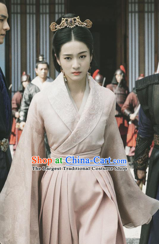 Chinese Ancient Princess Rong Le Historical Drama Princess Silver Costume and Headpiece for Women