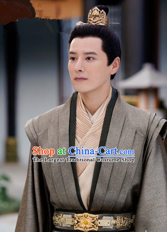 Chinese Drama Princess Silver Ancient Prince Fu Chou Historical Costume and Headwear for Men