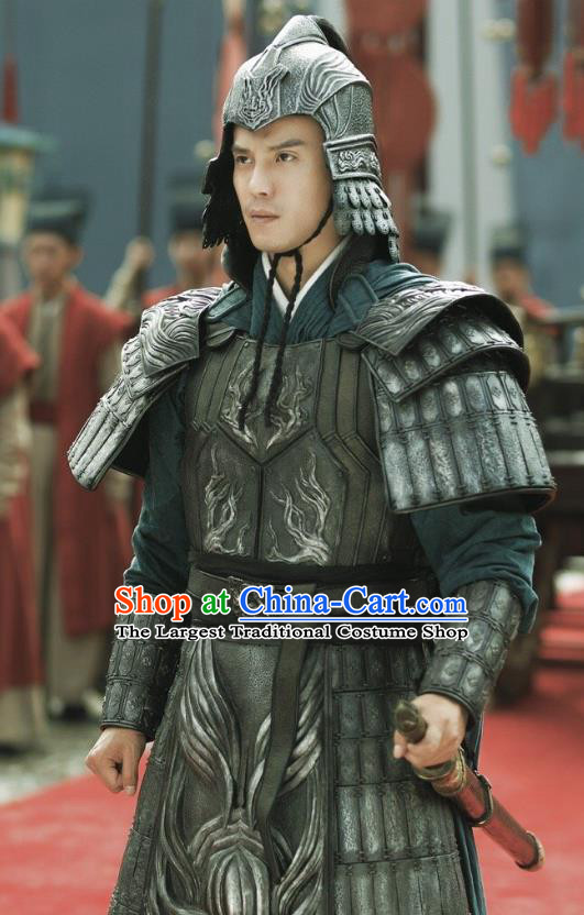 Chinese Drama Princess Silver Ancient General Xiao Sha Armor Historical Costume and Headwear for Men