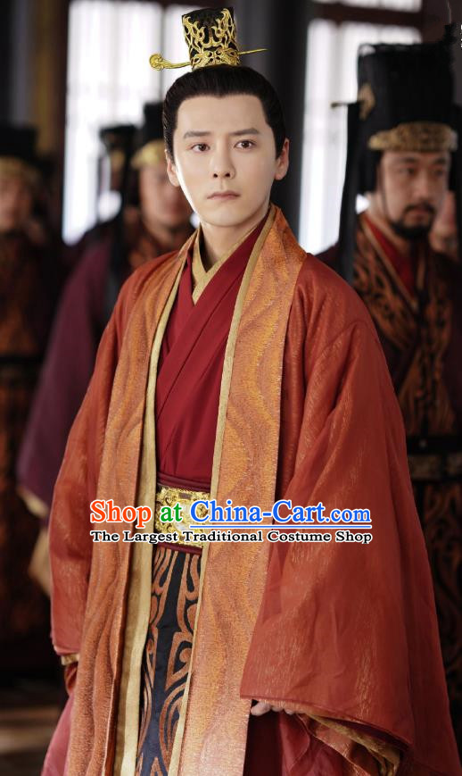 Chinese Drama Princess Silver Ancient Crown Prince Red Historical Costume and Headwear for Men