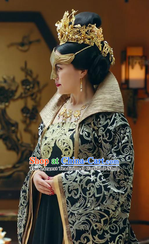 Chinese Ancient Empress Dowager Historical Drama Princess Silver Costume and Headpiece for Women