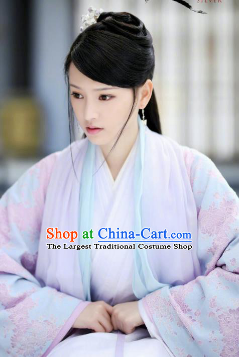 Chinese Ancient Court Lady Sun Yali Historical Drama Princess Silver Costume and Headpiece for Women