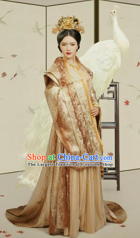 Chinese Ancient Court Queen Mother Fu Yuan Golden Historical Drama Princess Silver Costume and Headpiece for Women