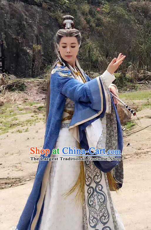 Chinese Historical Drama Swords of Legends Ancient Taoist Nun Costume and Headpiece for Women