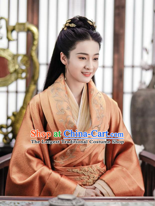 Chinese Ancient Royal Queen Rong Le Orange Historical Drama Princess Silver Costume and Headpiece for Women