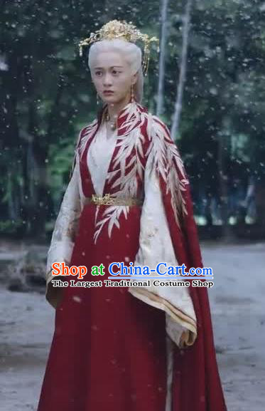 Chinese Ancient Royal Princess Historical Drama Princess Silver Red Costume and Headpiece for Women