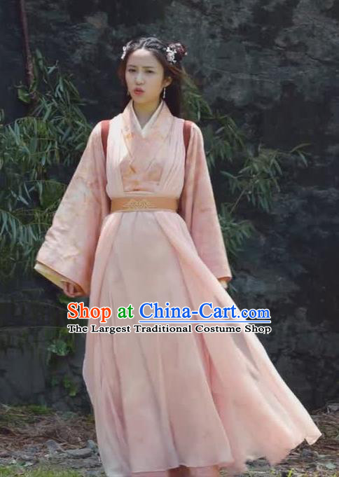 Chinese Ancient Maidservants Historical Drama Princess Silver Pink Costume and Headpiece for Women