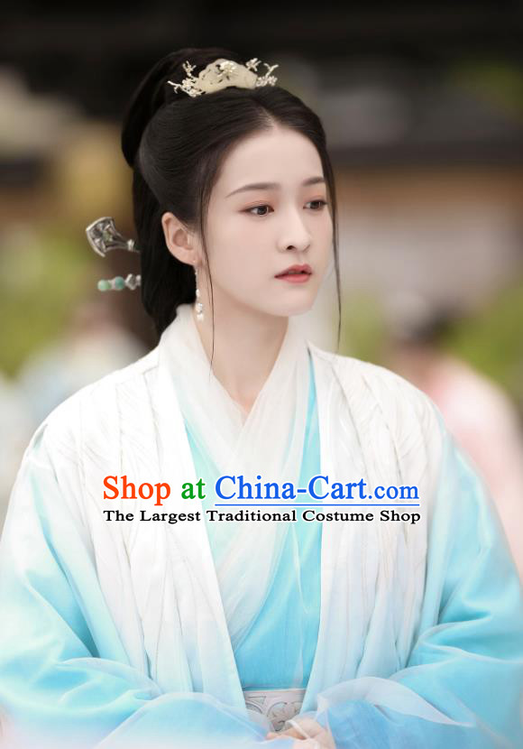 Chinese Ancient Princess Consort Rong Le Blue Dress Historical Drama Princess Silver Pink Costume and Headpiece for Women