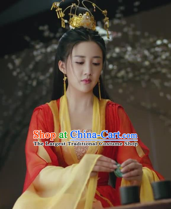 Chinese Ancient Princess Consort Hen Xiang Red Dress Historical Drama Princess Silver Pink Costume and Headpiece for Women