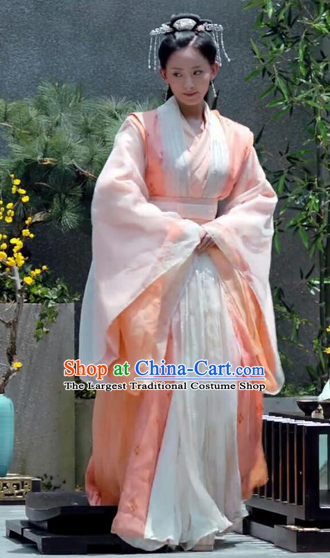 Chinese Ancient Royal Princess Zhao Yun Orange Hanfu Dress Historical Drama Princess Silver Pink Costume and Headpiece for Women