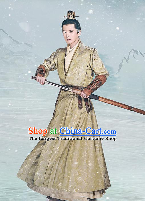Chinese Drama Princess Silver Ancient Ninth Prince Wu Yu Historical Costume and Headwear for Men