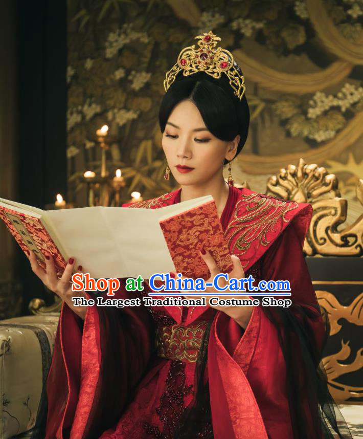 Chinese Ancient Court Empress Zheng Shujun Red Hanfu Dress Historical Drama Legend of the Phoenix Costume and Headpiece for Women