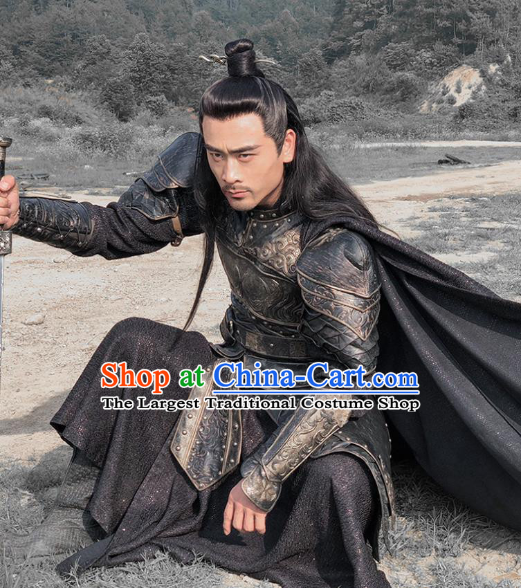 Chinese Drama Legend of the Phoenix Ancient General Yan Kuan Armor Historical Costume and Headwear for Men