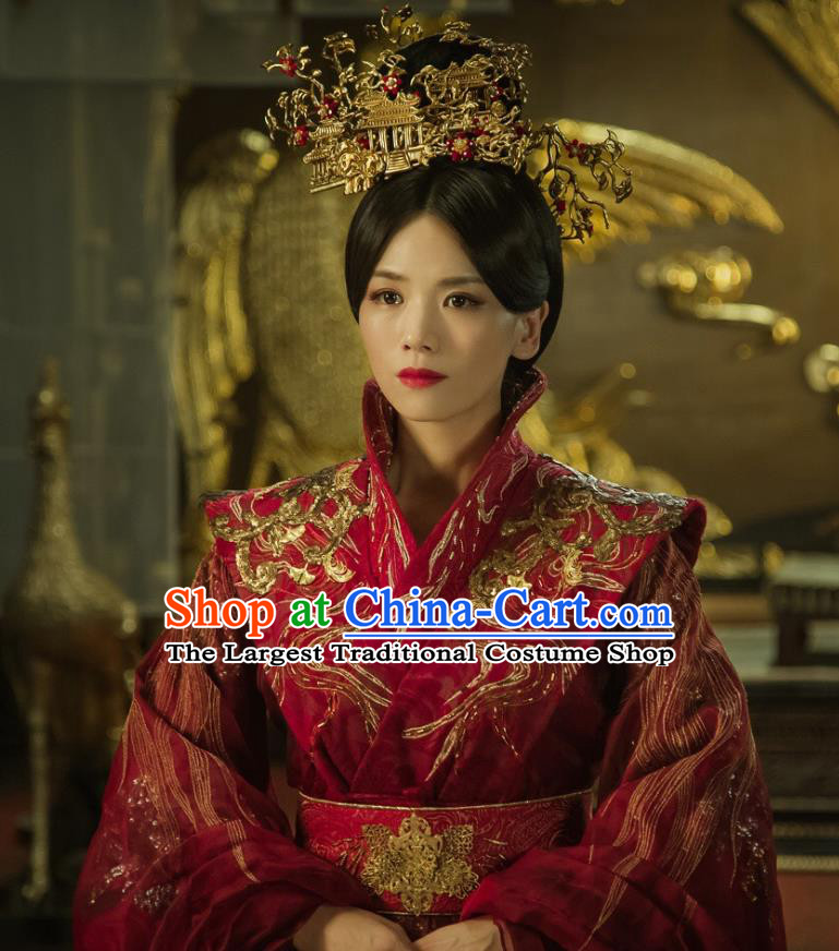 Chinese Ancient Palace Empress Zheng Shujun Red Hanfu Dress Historical Drama Legend of the Phoenix Costume and Headpiece for Women