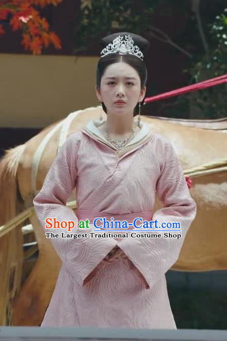 Chinese Ancient Royal Infanta Zhao Yun Pink Historical Drama Princess Silver Costume and Headpiece for Women
